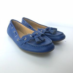 Talbots Sz 7 Leather Blue Loafers